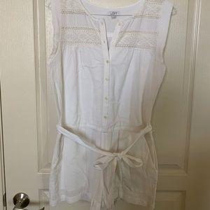 LOFT Women's White Linen Romper